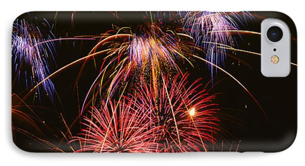 Fireworks Exploding Against Night Sky IPhone Case by Panoramic Images