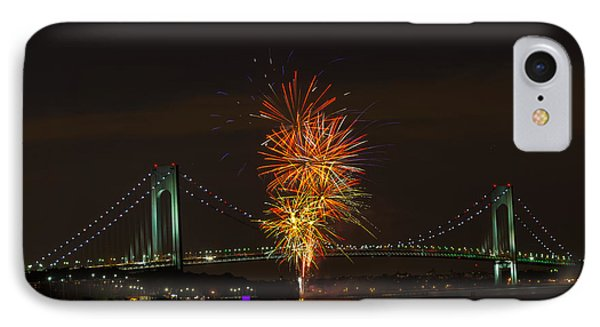 Fireworks Over The Verrazano Narrows Bridge IPhone Case by Kenneth Cole