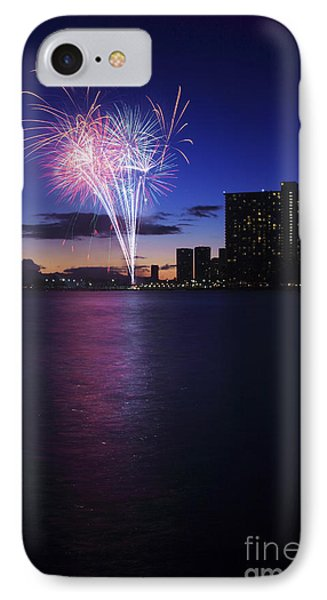 Fireworks Over Waikiki Phone Case by Brandon Tabiolo - Printscapes