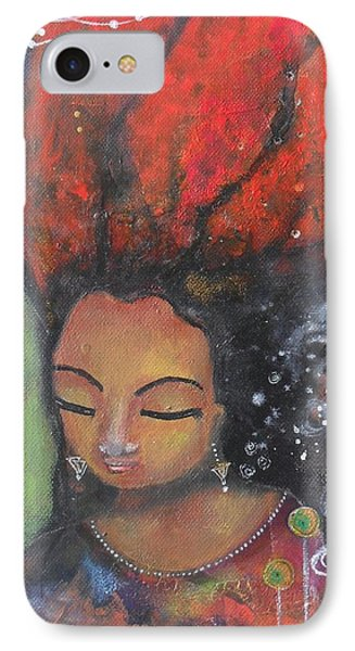 IPhone Case featuring the painting Firey Hair Girl by Prerna Poojara