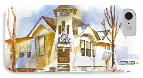 IPhone Case featuring the painting First Baptist Church In Winter by Kip DeVore