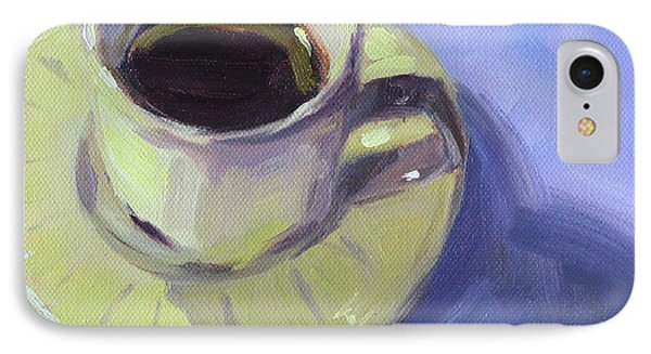IPhone Case featuring the painting First Cup by Nancy Merkle