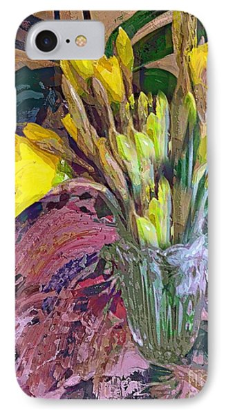 IPhone Case featuring the digital art First Daffodils by Alexis Rotella