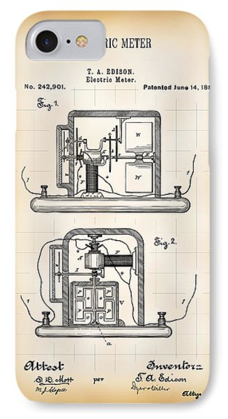 First Electric Meter 2 Patent 1881 IPhone Case by Daniel Hagerman