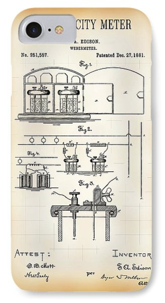 First Electricity Meter Patent 1881 IPhone Case by Daniel Hagerman
