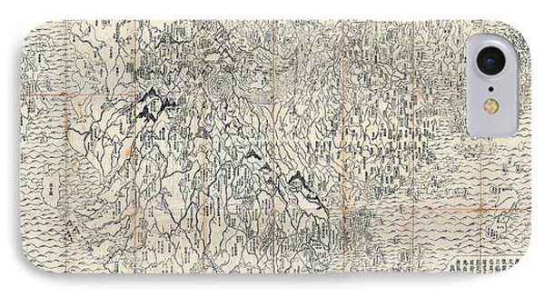 First Japanese Buddhist World Map Showing Europe, America And Africa - Print From 1710 IPhone Case by Marianna Mills