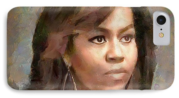 First Lady Michelle Obama IPhone Case by Wayne Pascall