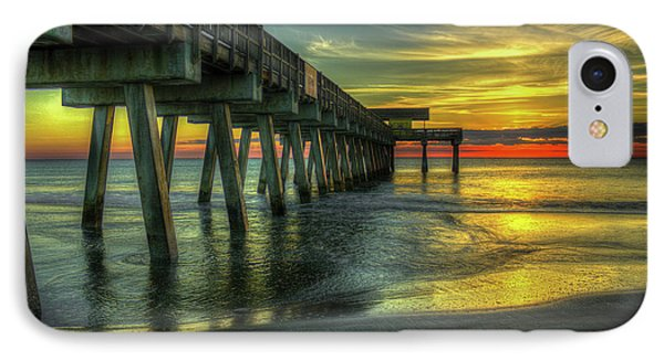 First Light Tybee Island Pier Seascape Art IPhone Case by Reid Callaway