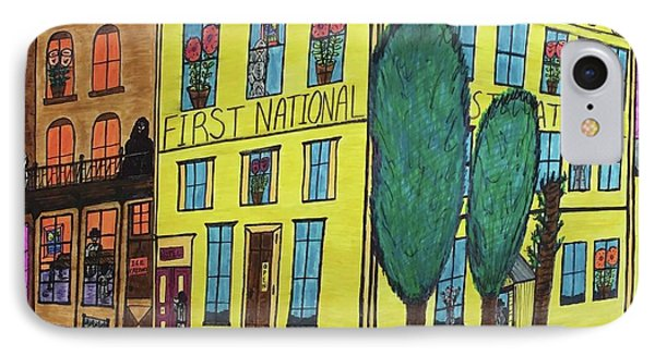 IPhone Case featuring the painting First National Hotel. Historic Menominee Art. by Jonathon Hansen