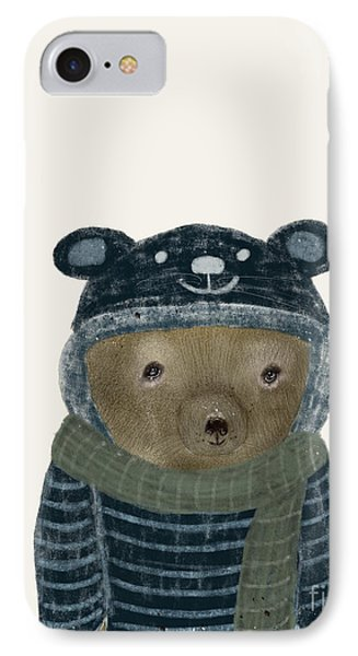IPhone Case featuring the painting First Winter Bear by Bri B