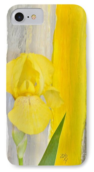 First Yellow Iris IPhone Case by Marsha Heiken