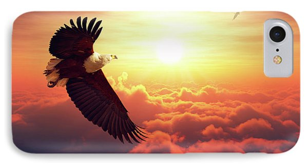 Fish Eagle Flying Above Clouds IPhone Case by Johan Swanepoel