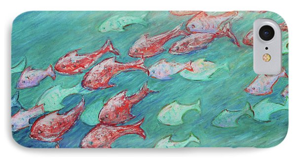 IPhone Case featuring the painting Fish In Abundance by Xueling Zou