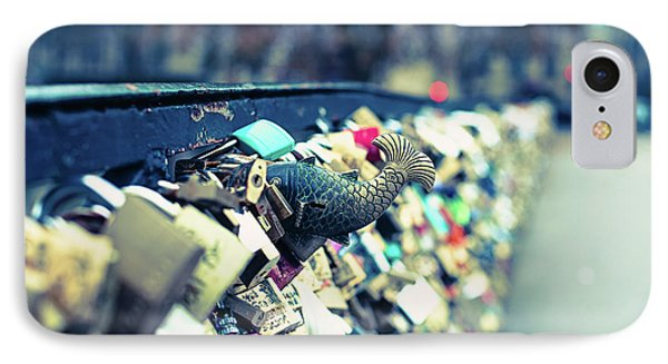 IPhone Case featuring the photograph Fish Out Of Water - Pont Des Arts Love Locks - Paris Photography by Melanie Alexandra Price