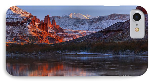 IPhone Case featuring the photograph Fisher Towers Glowing Reflections by Adam Jewell