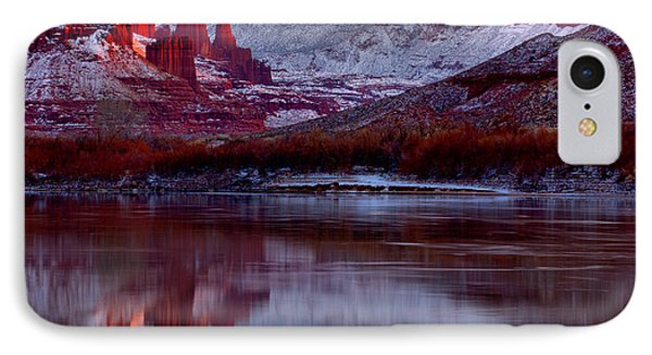 IPhone Case featuring the photograph Fisher Towers Landscape Glow by Adam Jewell