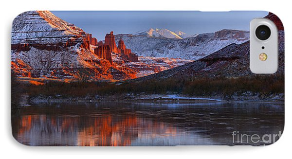 IPhone Case featuring the photograph Fisher Towers Sunset Glow Panorama by Adam Jewell