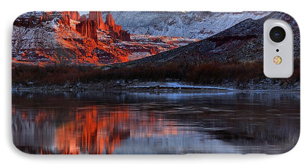 IPhone Case featuring the photograph Fisher Towers Sunset On The Colorado by Adam Jewell