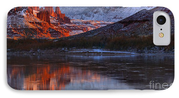 IPhone Case featuring the photograph Fisher Towers Sunset Reflection Panorama by Adam Jewell