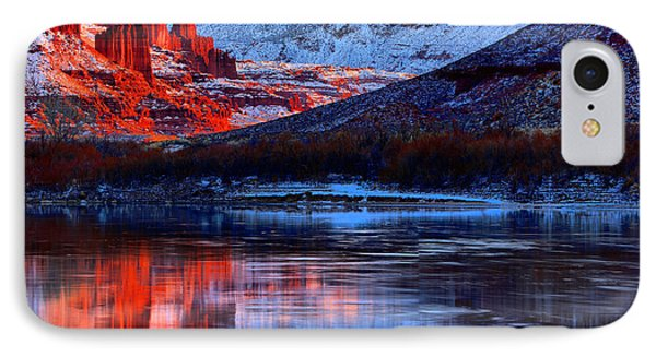 IPhone Case featuring the photograph Fisher Towers Sunset Winter Landscape by Adam Jewell