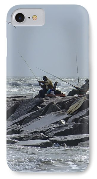 Fishermen With Seagull IPhone Case by Allen Sheffield