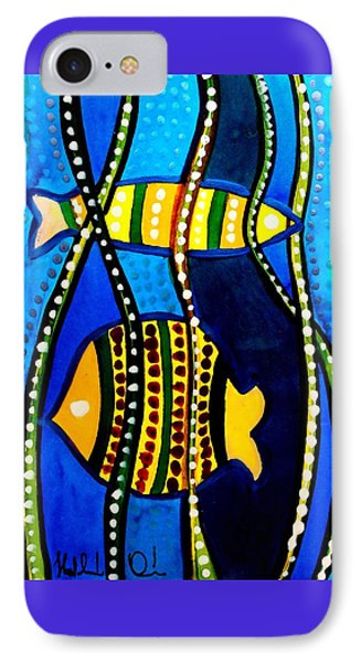 IPhone Case featuring the painting Fishes With Seaweed - Art By Dora Hathazi Mendes by Dora Hathazi Mendes