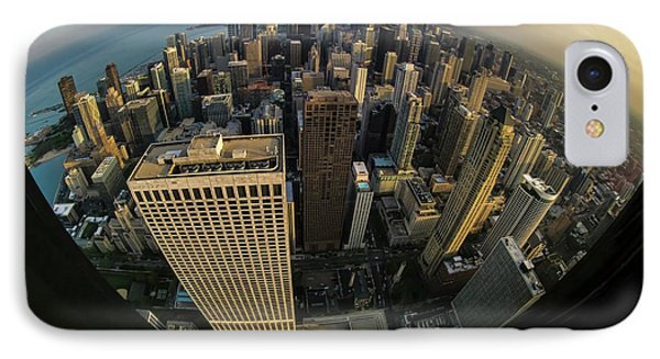 Fisheye View Of Dowtown Chicago From Above  IPhone Case by Sven Brogren
