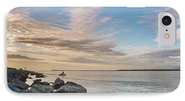 Fishing Along The South Jetty IPhone Case by Greg Nyquist