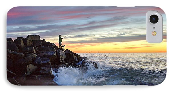 Fishing At Sunset IPhone Case by Ann Patterson