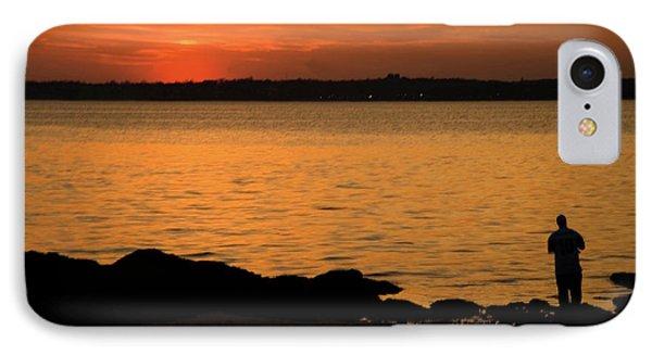 Fishing At Sunset Phone Case by Karol Livote