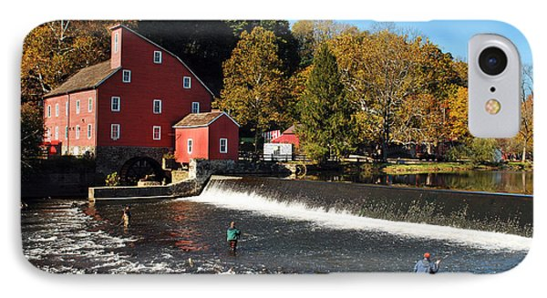 Fishing At The Old Mill IPhone Case by Lori Tambakis