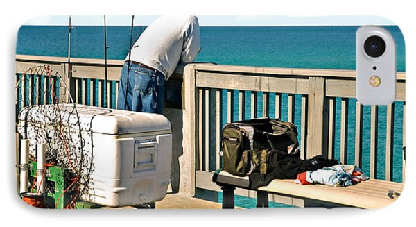 Fishing At The Pier IPhone Case by Susan Leggett