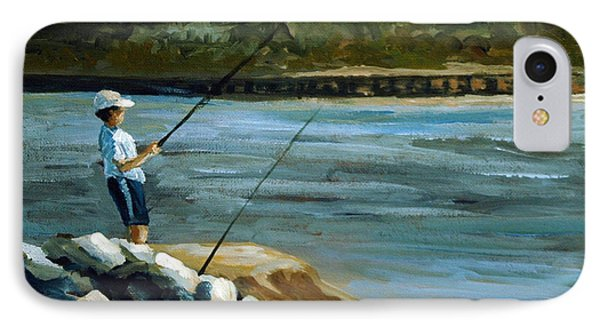 IPhone Case featuring the painting Fishing At The Point by Suzanne McKee