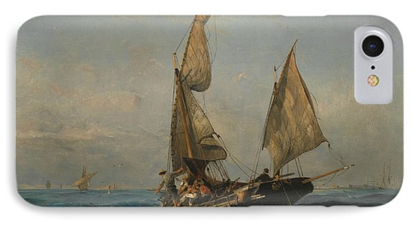 Fishing Boat In Choppy Waters IPhone Case by Konstantinos Volanakis