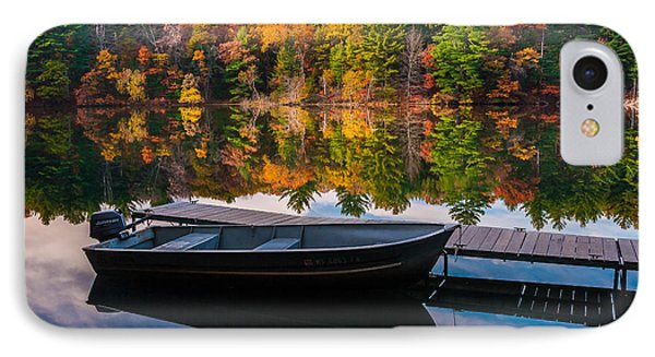 IPhone Case featuring the photograph Fishing Boat On Mirror Lake by Rikk Flohr