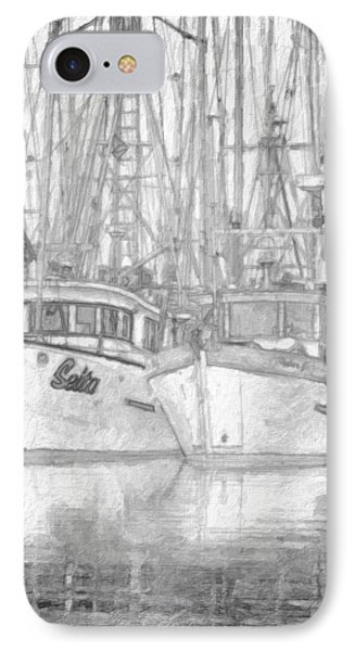 Fishing Boat Sketch IPhone Case by Richard Farrington