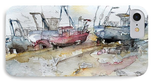 Fishing Boats At Hastings' Beach Phone Case by Barbara Pommerenke