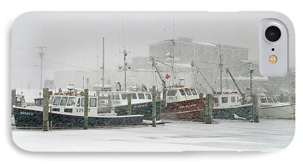Fishing Boats During Winter Storm Sandwich Cape Cod IPhone Case by Matt Suess