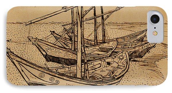 Fishing Boats On The Beach At Saintes-maries De La Mer, 1888 IPhone Case by Vincent Van Gogh