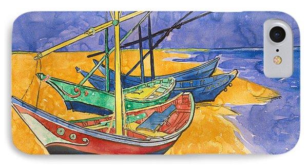 Fishing Boats On The Beach At Saintes Maries De La Mer IPhone Case by Vincent Van Gogh