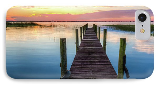 IPhone Case featuring the photograph Fishing Dock At Sunrise by Debra and Dave Vanderlaan