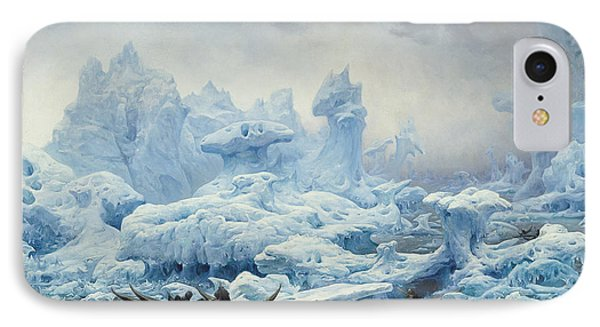Fishing For Walrus In The Arctic Ocean IPhone Case by Francois Auguste Biard