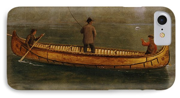 Fishing From A Canoe IPhone Case by Albert Bierstadt
