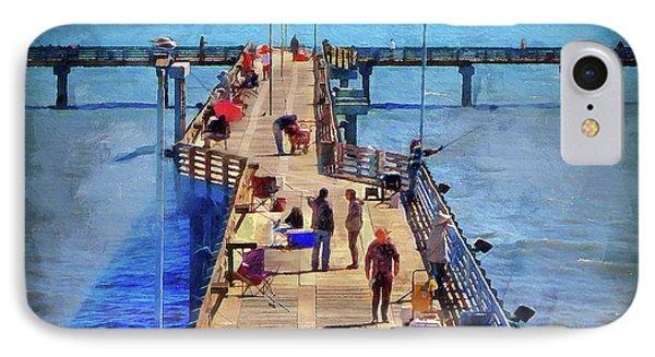 Fishing Off Galvaston Pier IPhone Case by Cedric Hampton