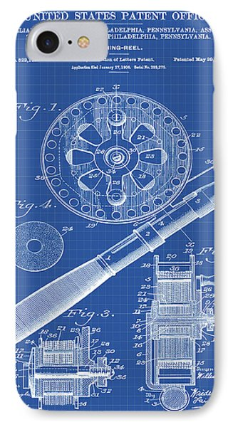 Fishing Reel Patent 1906 Blueprint IPhone Case