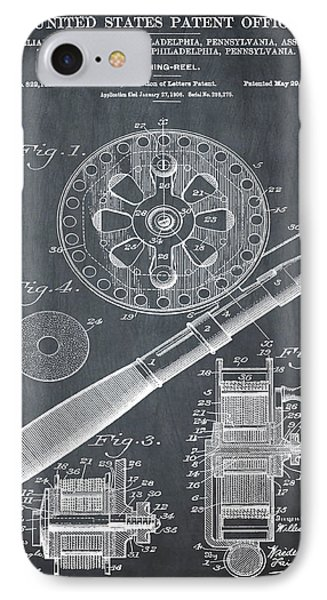 Fishing Reel Patent 1906 Chalk IPhone Case