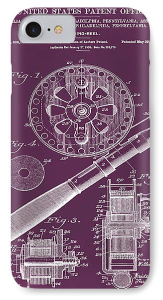 Fishing Reel Patent 1906 Red IPhone Case