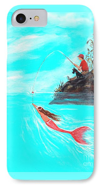 IPhone Case featuring the painting Fishing Surprise by Leslie Allen