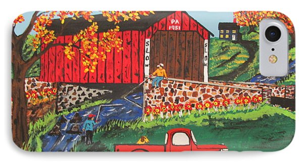 IPhone Case featuring the painting Fishing Under The  Covered Bridge by Jeffrey Koss