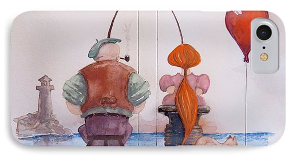 Fishing With Grandpa IPhone Case by Geni Gorani